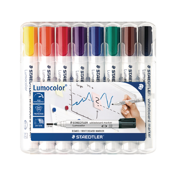 Staedtler Lumocolor 351 Drywipe Assorted Pack of 8 351 WP8 | ST18624