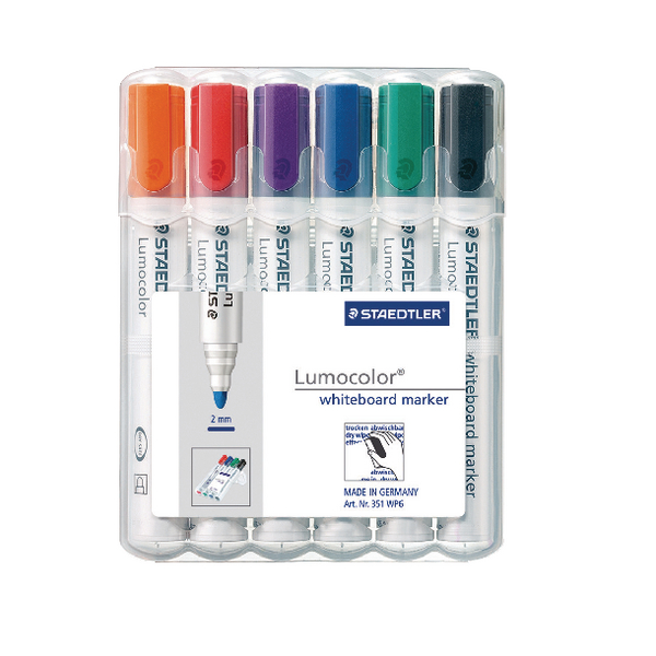 Staedtler Lumocolor 351 Drywipe Assorted Pack of 6 351 WP6 | ST28941